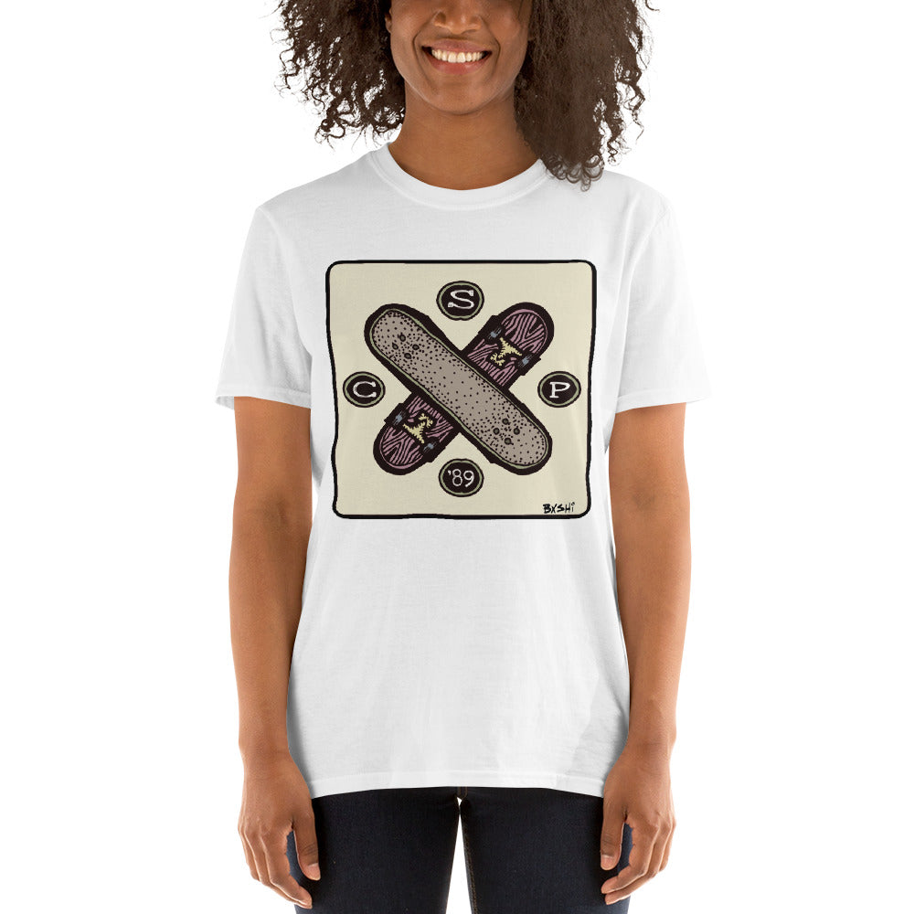 City Skate Project x BxShi skateboard cross full color square logo Skateboarding T-Shirt.