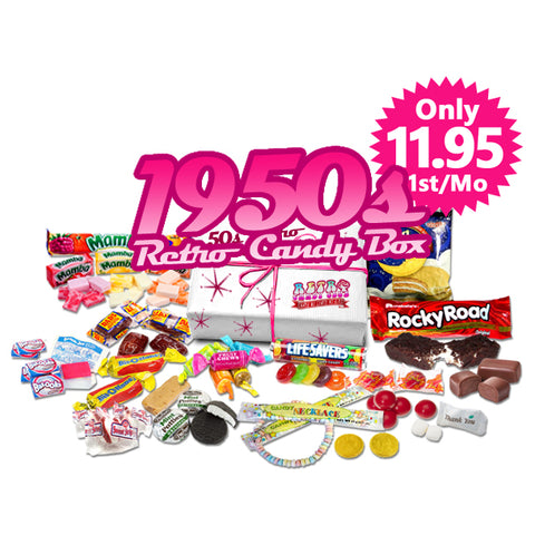 1950s Retro Candy Box Monthly - Only $35 month, Free Shipping!