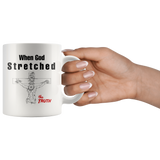 God can not lie but over 2,000 years ago He stretched the Truth white coffee mug