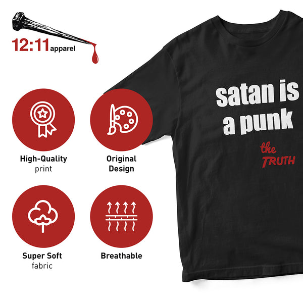 satan is a punk. Spiritual Warfare Christian Graphic T-Shirt