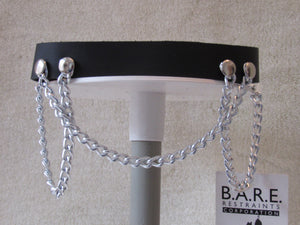 Triple Chain Leather Collar