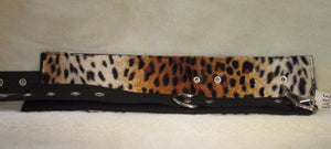 Faux Leopard Lined fur & Leather Wrist Cuffs