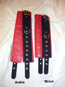 Leather Lined Wide Wrist and/or Ankle Cuffs