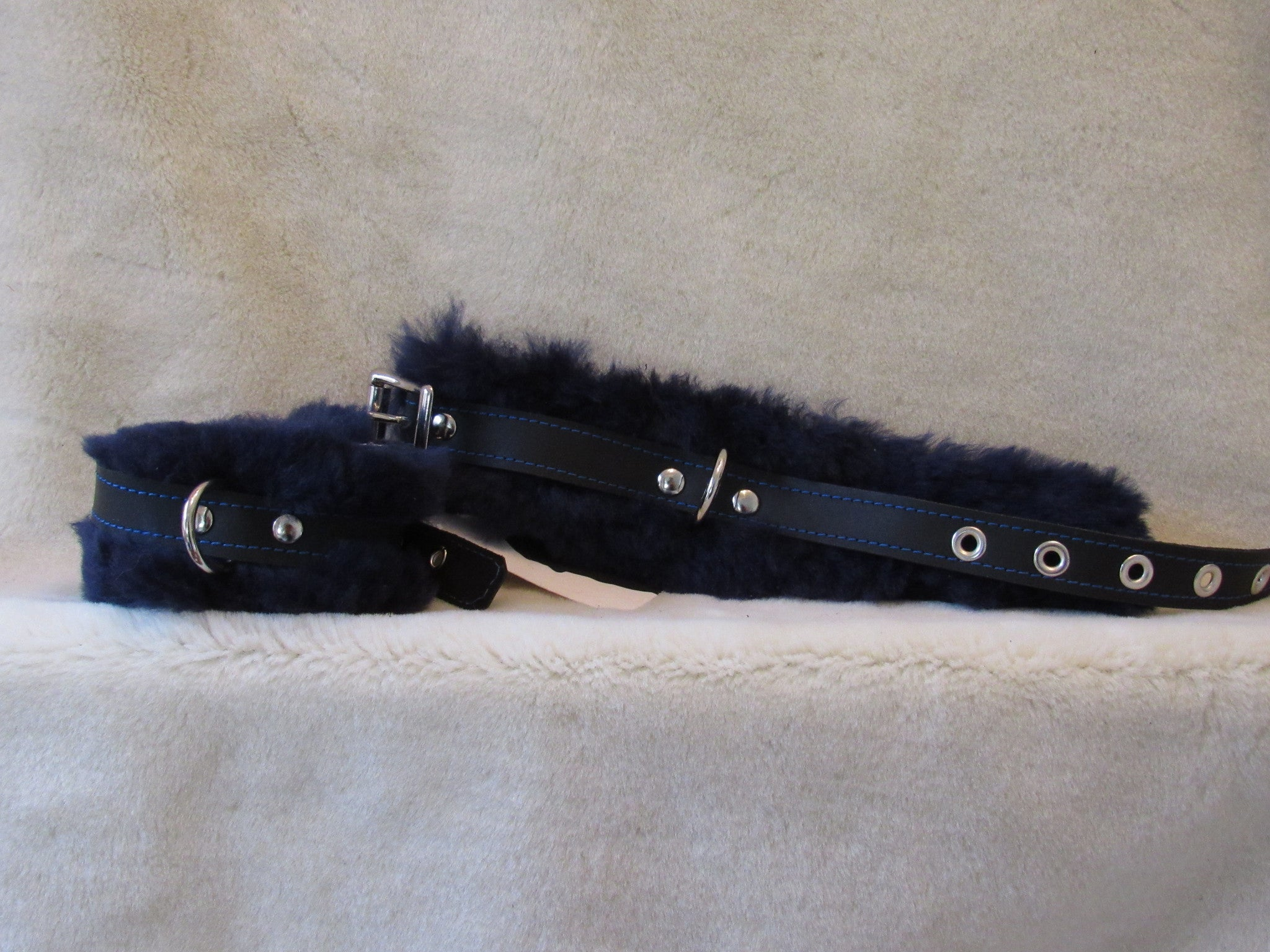 Blue Sheep Skin Wrist Cuffs