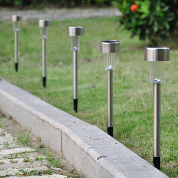 12pcs Stainless Steel LED Solar lawn Path Lights
