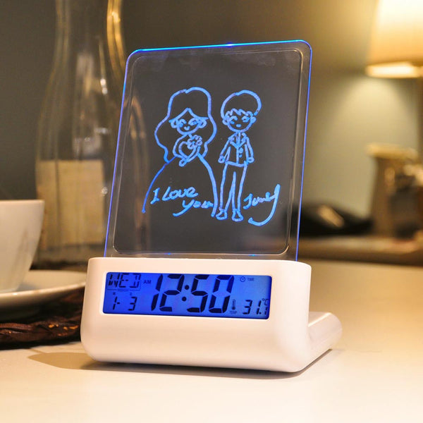 Smart Multi functional Morning Clock with Message Board and 2 Ports Charger