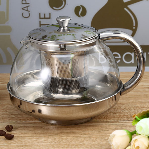 High Quality Steel Stainless Glass Teapot With Infuser