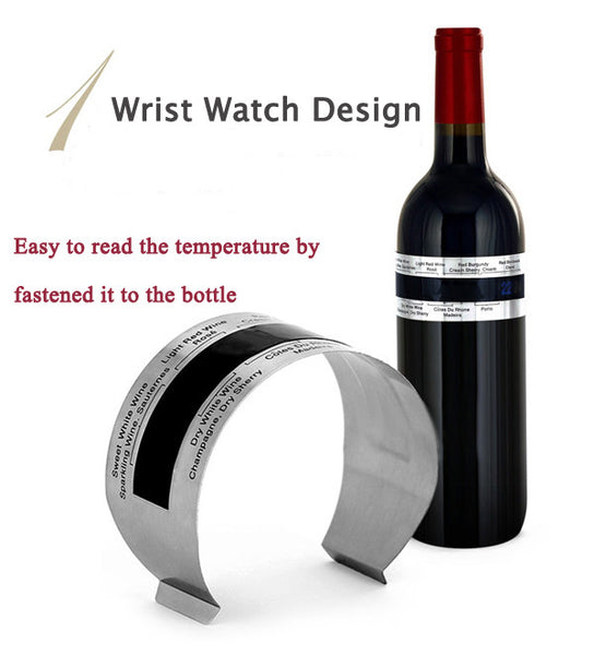 LCD Stainless Steel Wine Bracelet Thermometer Creative Wine Thermometer