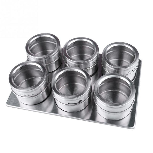 6pcs Stainless Steel Magnetic Spice Jars