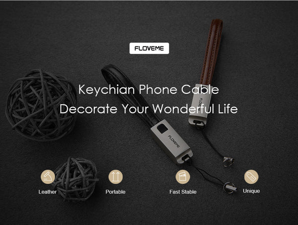 USB Cables For iPhone w/ Charger or iPhone 8 7 6 6s X 5s in a Leather Key Chain