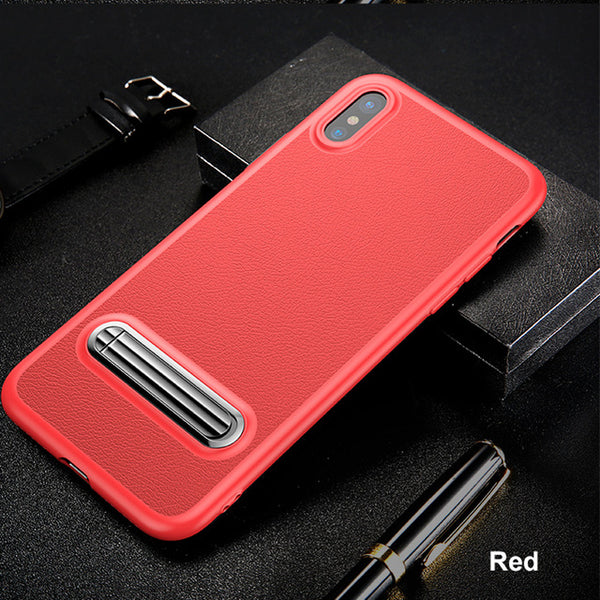 Baseus Kickstand Luxury TPU Leather Phone Case For iPhone X