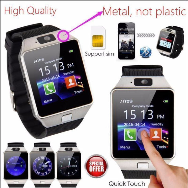 Bluetooth Smart Watch Phone + Camera w/ SIM Card slot For Android IOS Phones