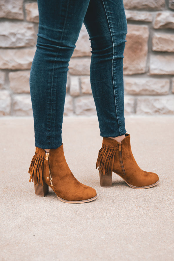 Dream Chaser Fringe Stacked Booties - Camel - Barefoot Dreamer