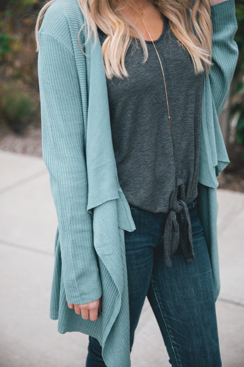 Willow Ribbed Knit Cardigan - Sage - Barefoot Dreamer