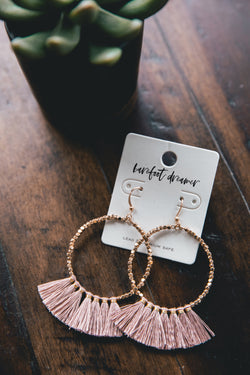 Gold Fringe Hoop Earrings with Fabric Tassels - Blush - Barefoot Dreamer