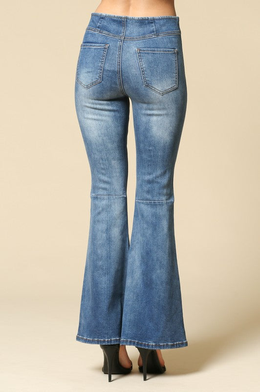 Free Spirit  Stretchy Super Flare Jeans - Medium Wash - Barefoot Dreamer