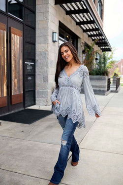 Brinley Bell Sleeve Tunic Top with Crochet Detailing - Grey - Barefoot Dreamer
