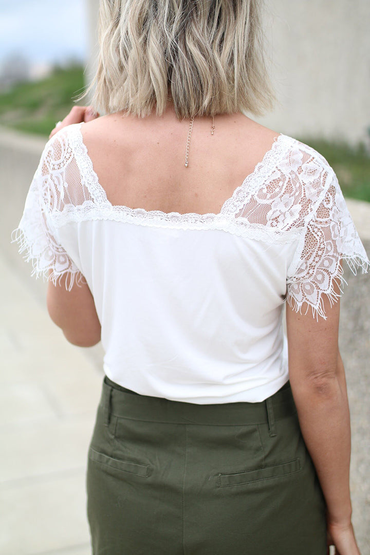 Kelsey Eyelash Lace Trim Top - White - Barefoot Dreamer