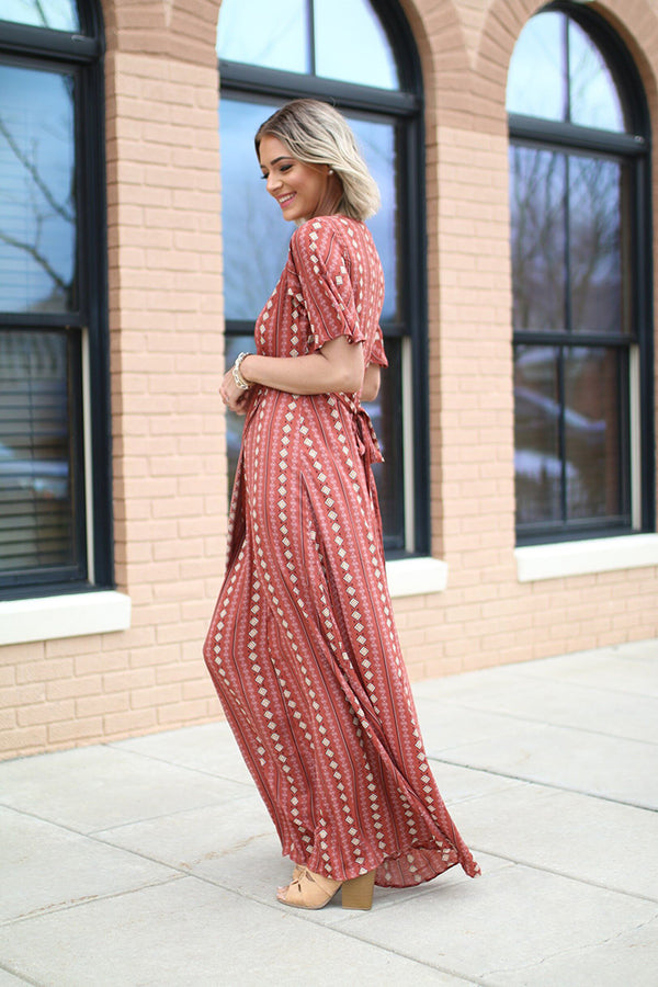 Stevie Short Sleeve Printed Wrap Maxi Dress - Barefoot Dreamer