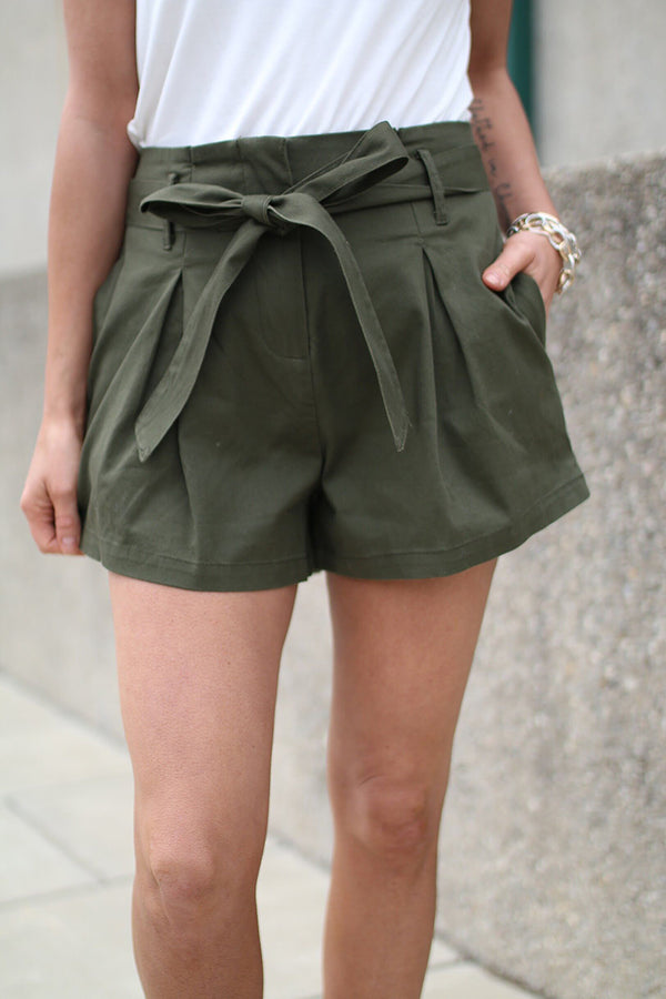 Laney Olive Shorts With Front Tie