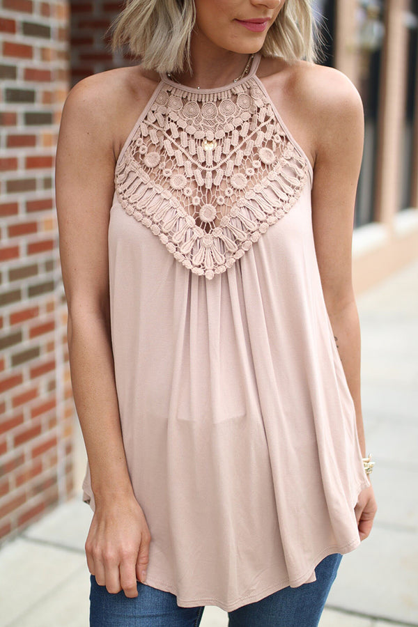 Lotus Crochet Lace Detail Halter Top - Taupe - Barefoot Dreamer