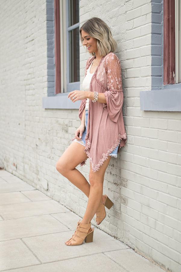 Ariana Lace Detailed Cardigan - Canyon Sand - Barefoot Dreamer