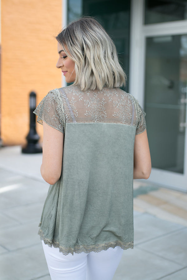 Marlo Olive Lace Accent Top - Barefoot Dreamer