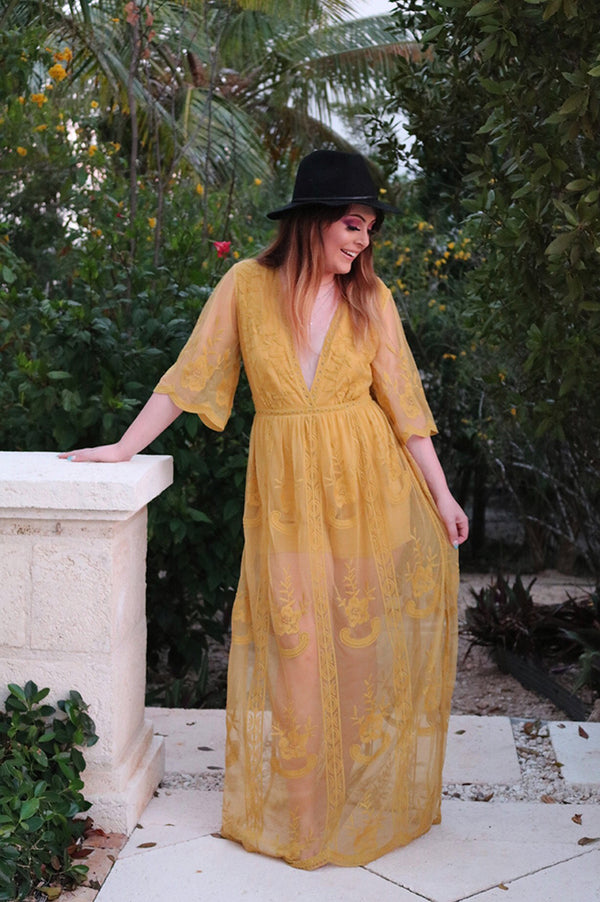 Amelia Embroidered Lace Maxi Romper - Mustard - Barefoot Dreamer