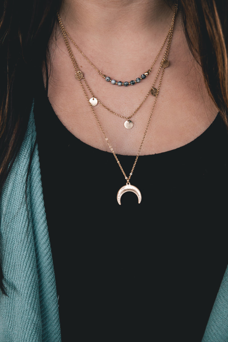 Elora Triple Layered Crescent Necklace - Barefoot Dreamer