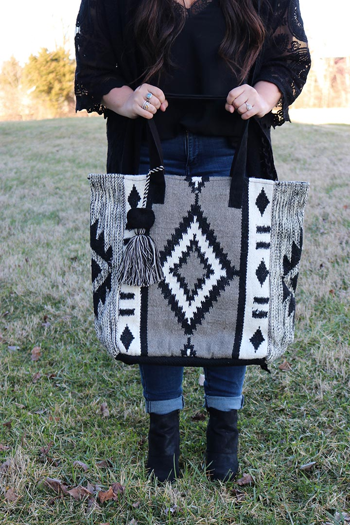 Cheyenne Hand Loomed Tribal Wool Tote Bag - Barefoot Dreamer