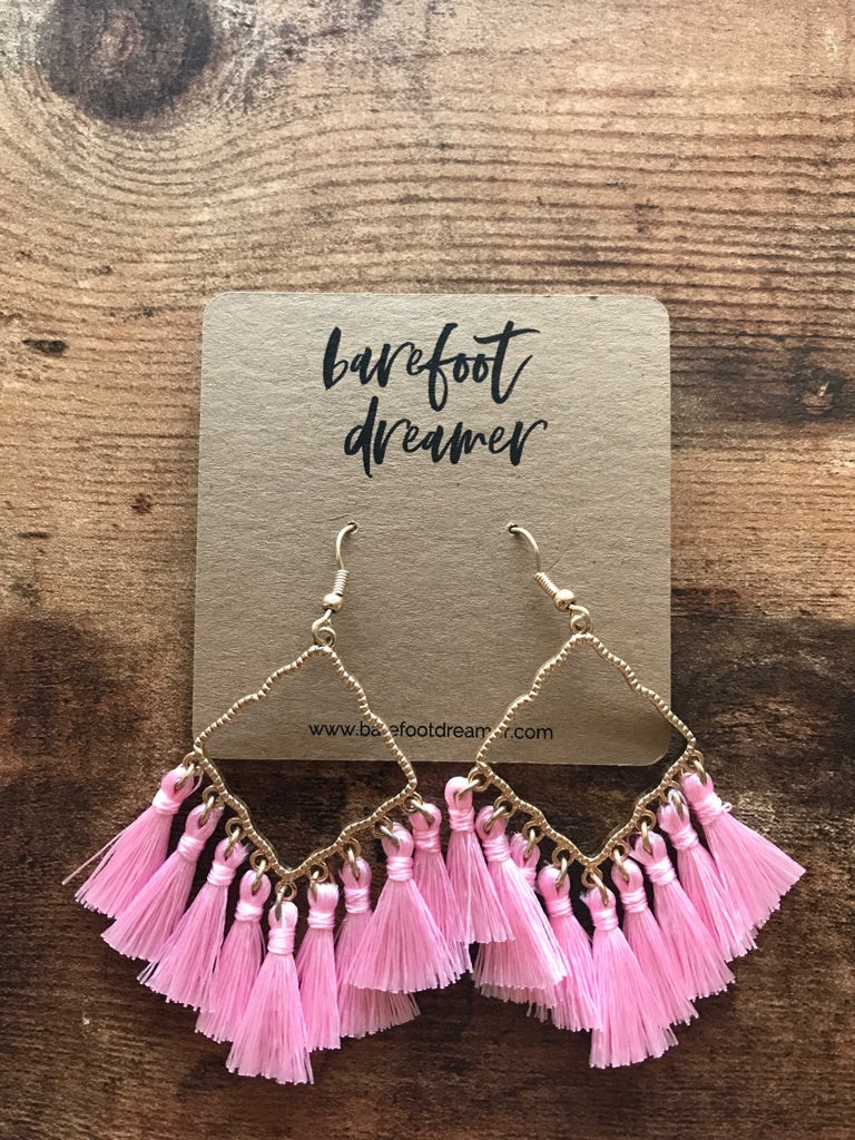 Isha Diamond Shaped Tassel Earrings - Pink - Barefoot Dreamer
