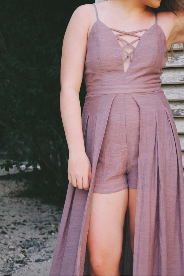 Karrisa Lace Up Front Maxi Romper - Mauve - Barefoot Dreamer