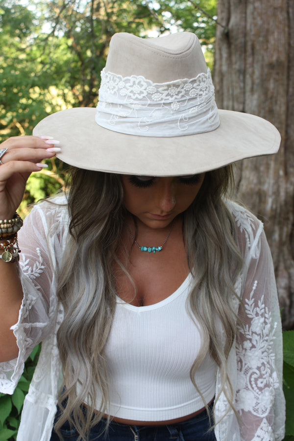 Bohemian Beauty Wide Brim Lace Accented Rancher Hat - Tan