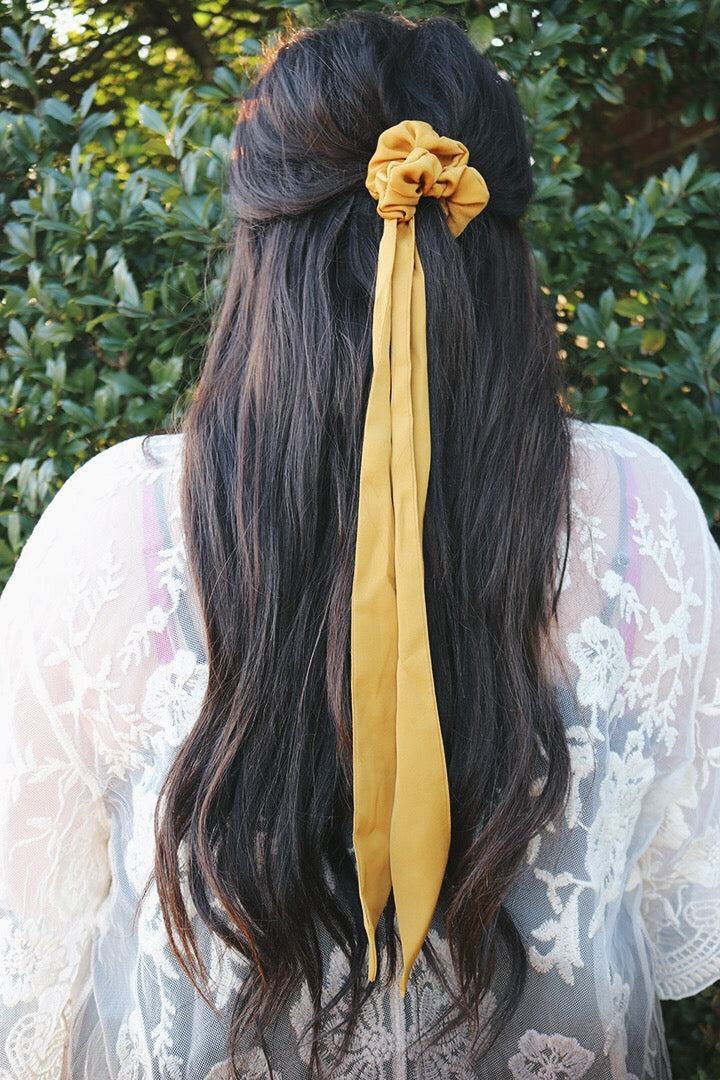 Eyes on You Hair Ribbon Scrunchie - Mustard - Barefoot Dreamer