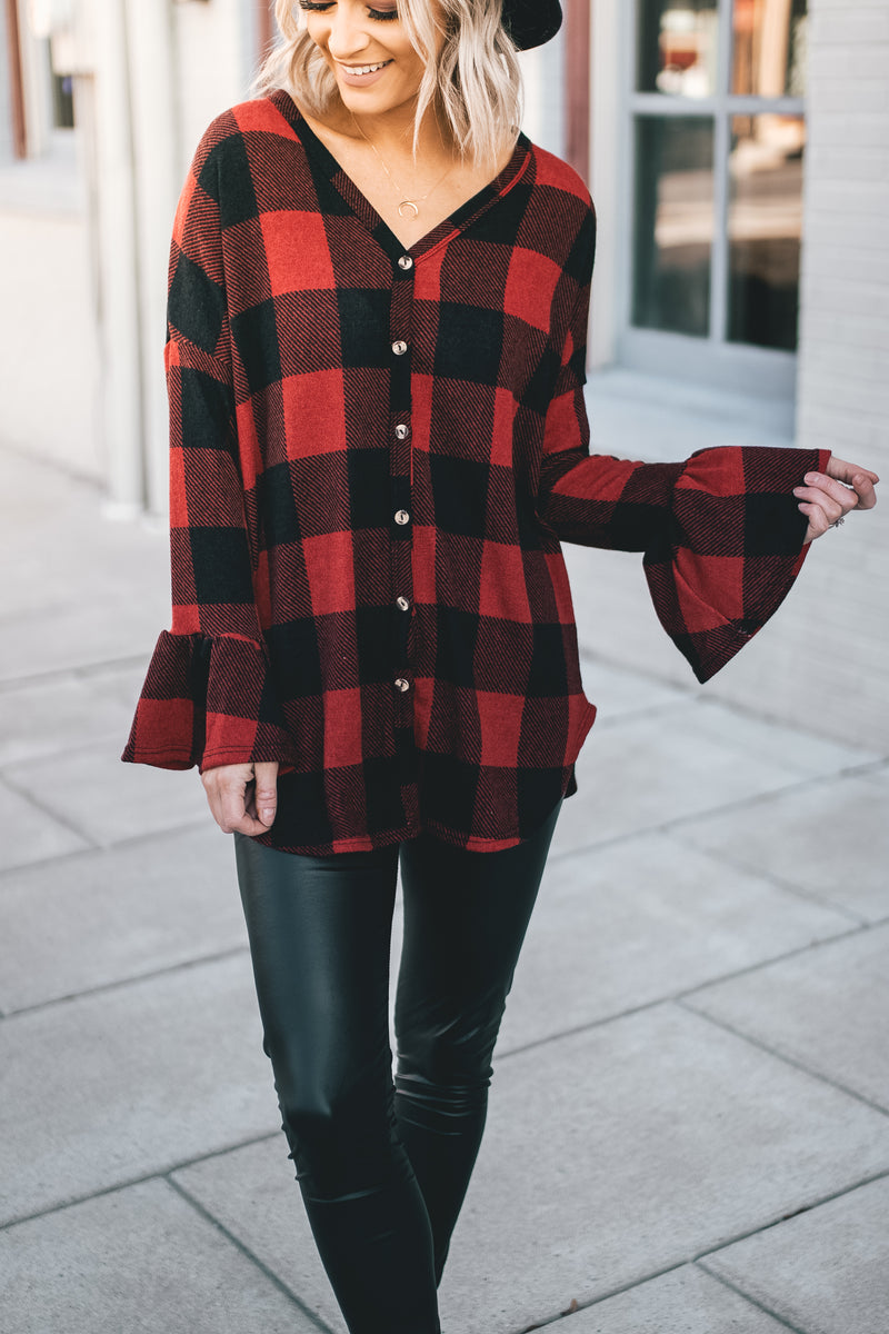 Buffalo Plaid Dolman Sleeve Front Tie Top - Barefoot Dreamer