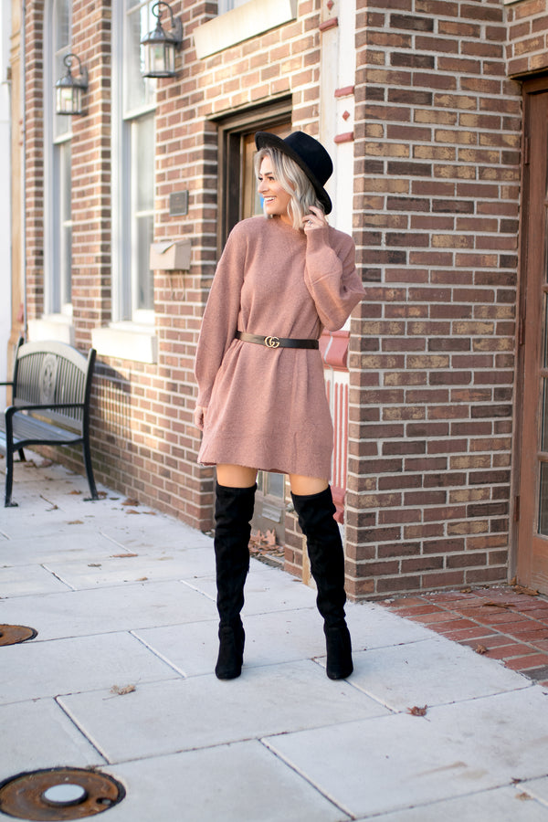 Maddie Bubble Sleeve Sweater Dress - Barefoot Dreamer