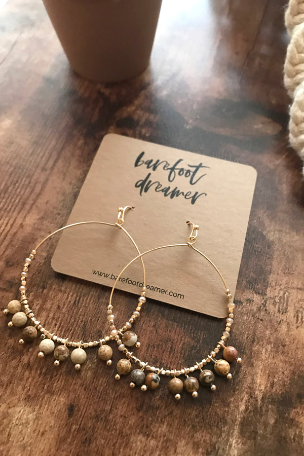 Sofia Stone Beaded Hoop Earrings - Jasper - Barefoot Dreamer