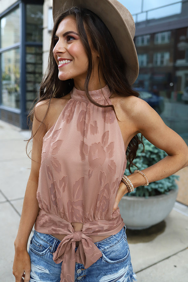 Huntleigh Embroidered Mock Neck Tie Back Top - Dusty Rose