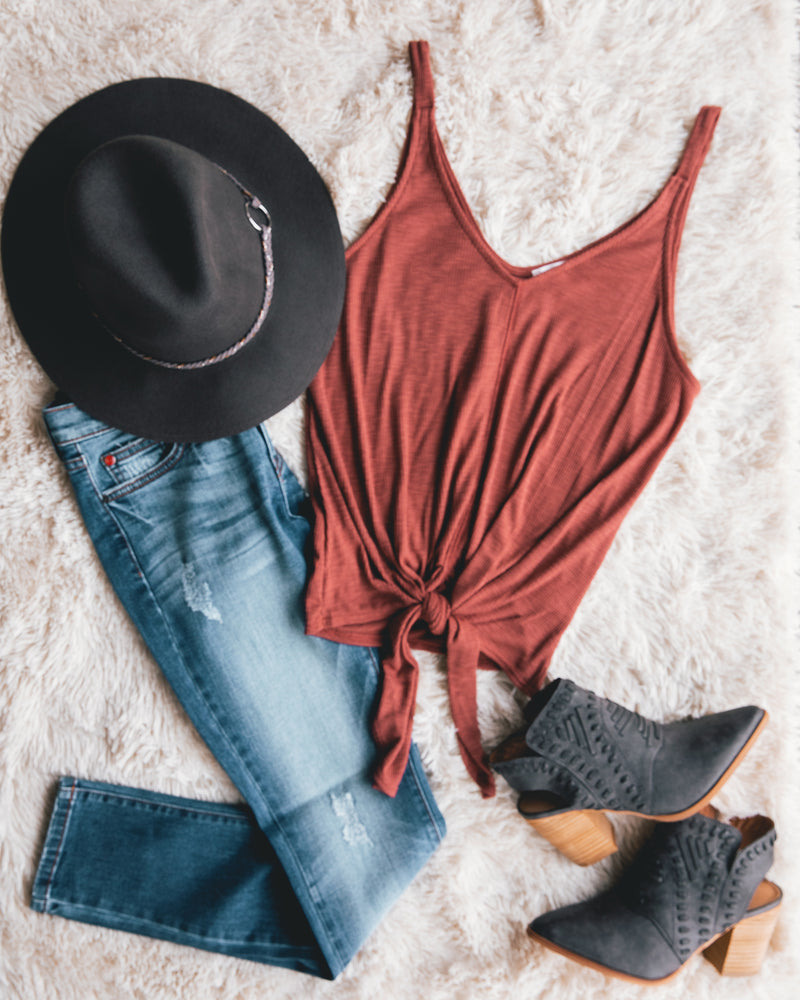 Head In The Clouds V-Neck Sleeveless Top With Front Tie - Marsala - Barefoot Dreamer