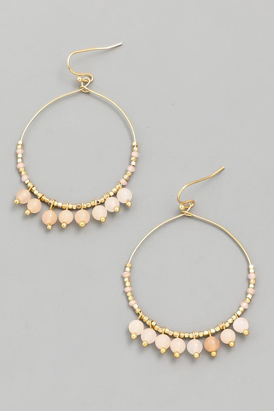 Sofia Stone Beaded Hoop Earrings - Peach - Barefoot Dreamer