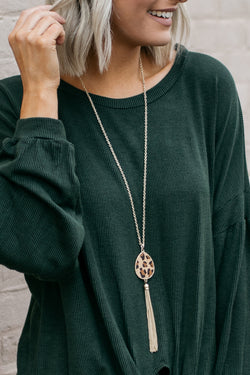 Leopard Tassle Statement Necklace - Barefoot Dreamer