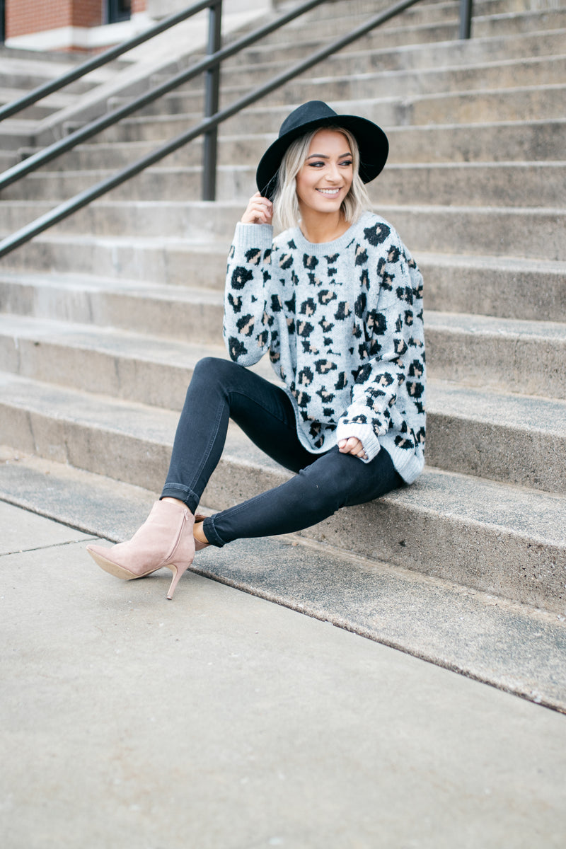 Alexis Leopard Cozy Pullover Sweater - Barefoot Dreamer