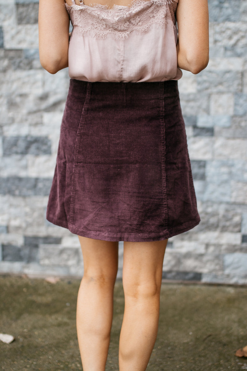 Haven Corduroy Front Button A Line Skirt - Plum - Barefoot Dreamer