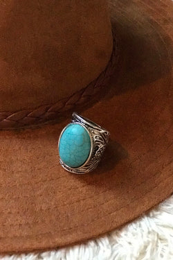 Lucia Turquoise Adjustable Statement Ring - Barefoot Dreamer