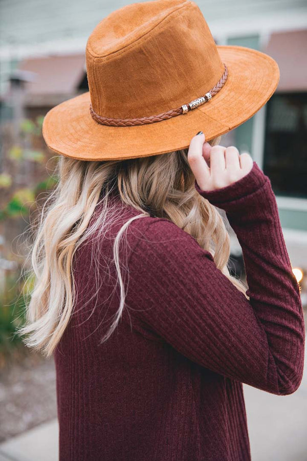 Sedona Braided Suede Panama Hat - Camel - Barefoot Dreamer