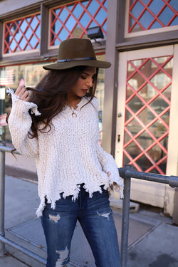 Lexie Distressed Hem Popcorn Knit Sweater - Natural - Barefoot Dreamer