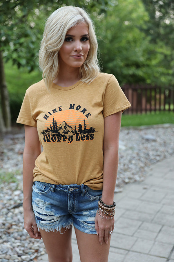 Hike More Worry Less Graphic Tee - Mustard
