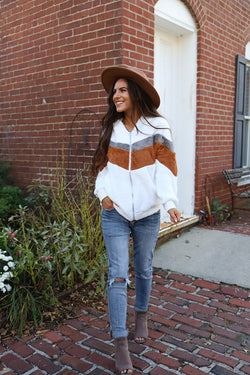 So Neutral Chevron Sherpa Jacket