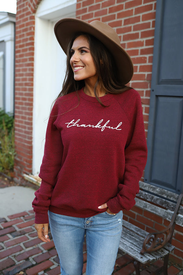 Thankful Graphic Sweatshirt - Wine