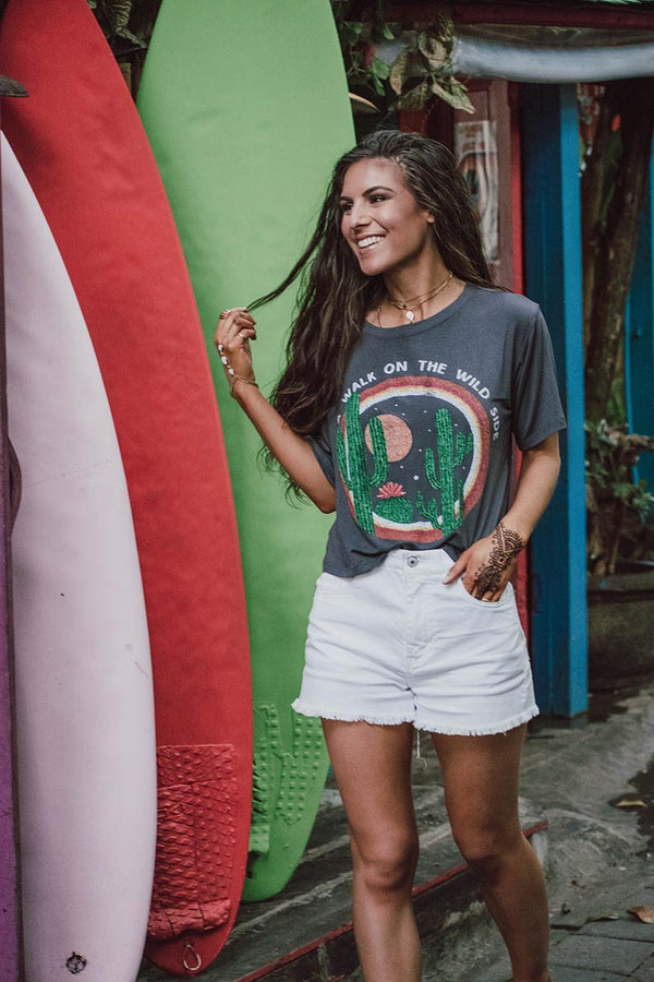 Walk On The Wild Side Crop Graphic Tee - Barefoot Dreamer